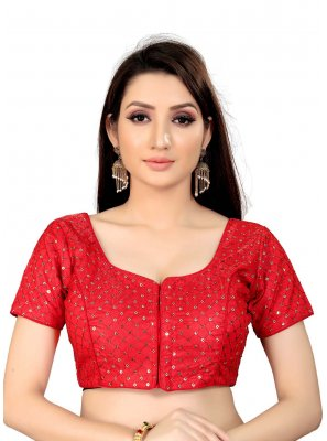 Red Art Silk Printed Blouse