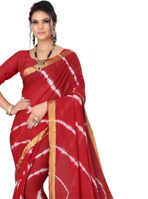 Red Art Silk Printed Saree