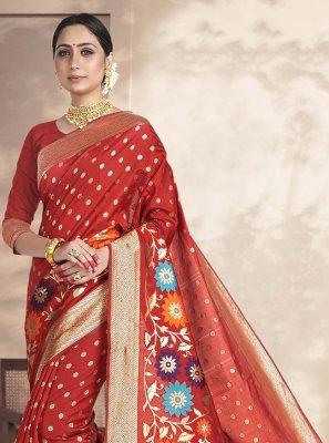 Red Art Silk Silk Saree
