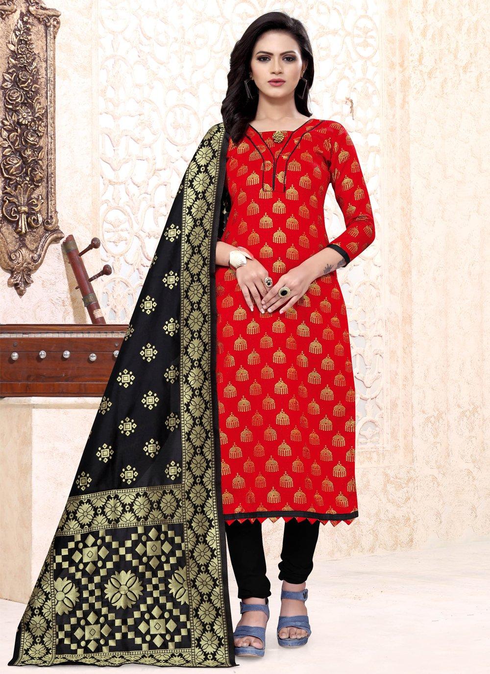 Red Banarasi Silk Ceremonial Churidar Suit