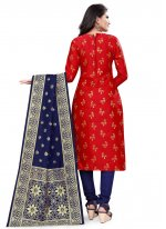 Red Banarasi Silk Churidar Designer Suit