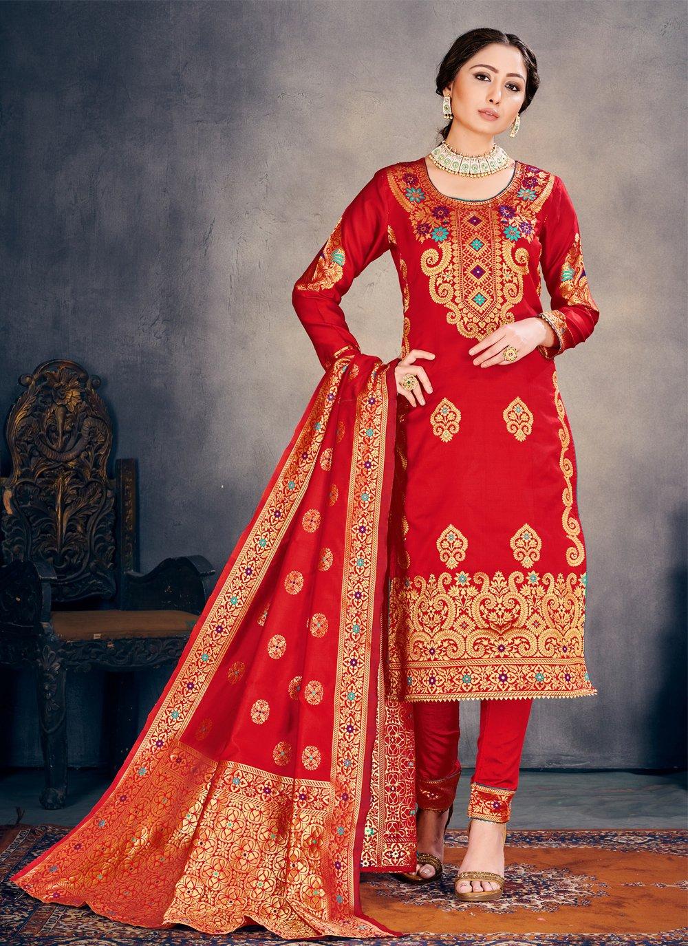 Red Banarasi Silk Pant Style Suit