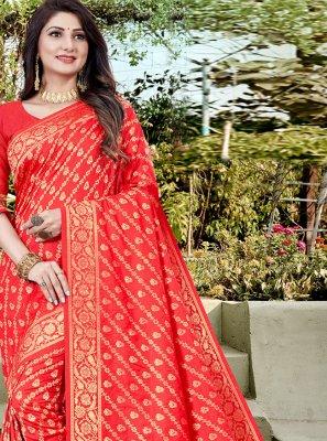 Red Banarasi Silk Traditional Designer Saree