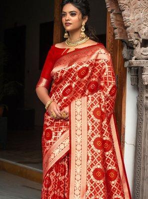 Red Banarasi Silk Weaving Designer Traditional Saree