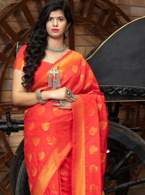 Red Banarasi Silk Weaving Traditional Designer Saree