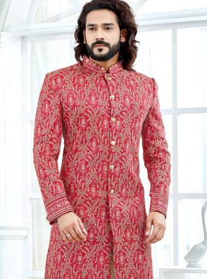 Red Banglori Silk Embroidered Indo Western