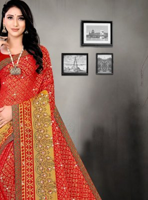 Red Brasso Printed Saree