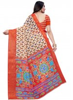 Red Casual Printed Saree