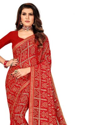Red Ceremonial Faux Georgette Printed Saree