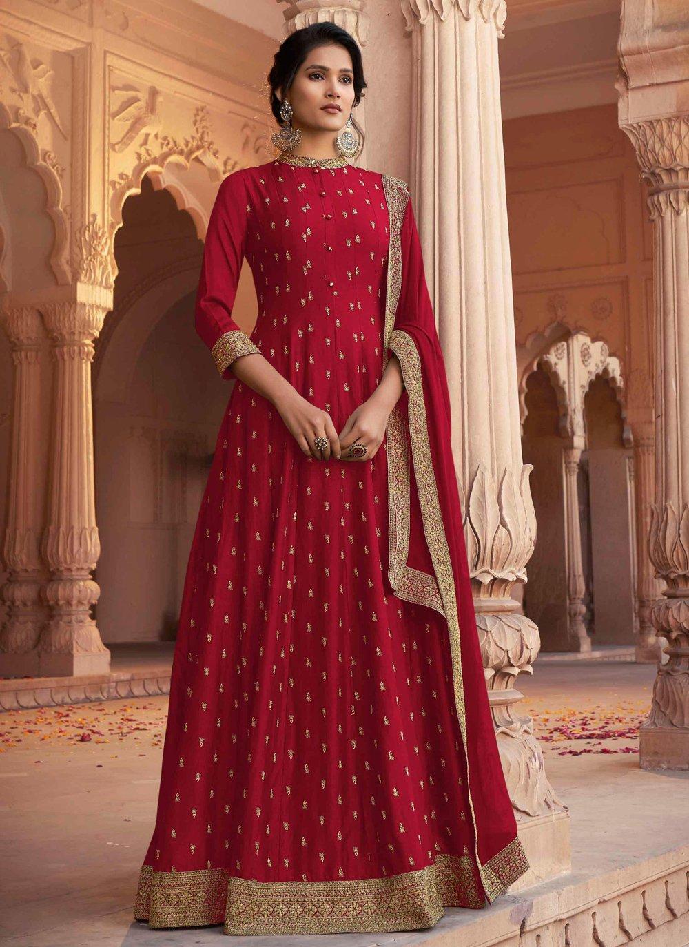 Red Ceremonial Floor Length Anarkali Suit