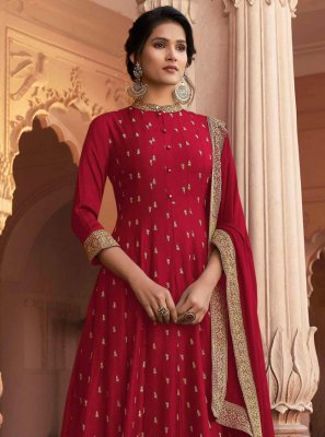 Red Ceremonial Floor Length Anarkali Suit