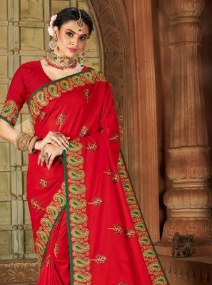 Red Ceremonial Silk Traditional Designer Saree