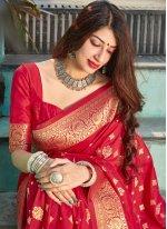 Red Ceremonial Traditional Designer Saree