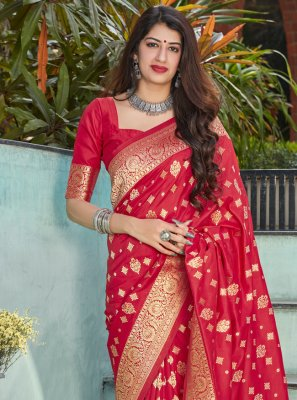 Red Ceremonial Traditional Designer Saree