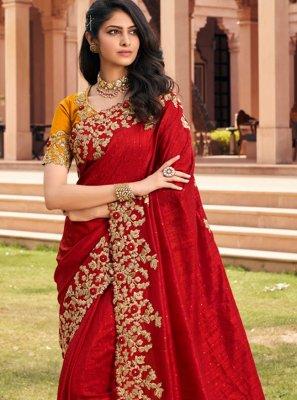 Red Ceremonial Trendy Saree