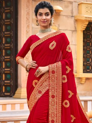 Red Chanderi Traditional Designer Saree