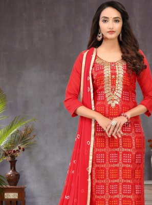 Red Color Churidar Salwar Kameez