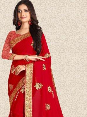 Red Color Classic Saree