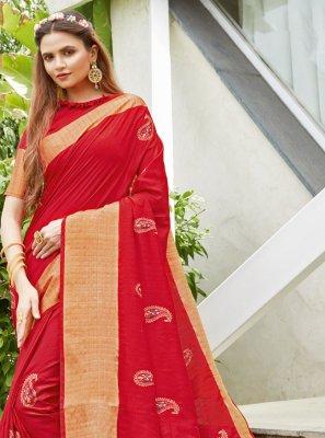 Red Color Designer Traditional Saree