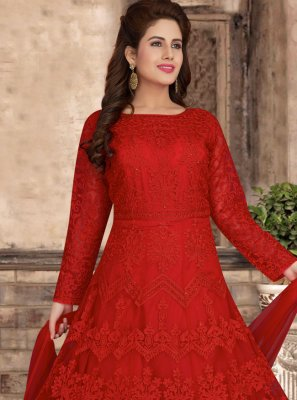 Red Color Readymade Anarkali Suit