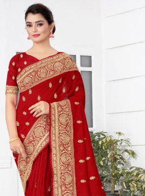 Red Color Traditional Designer Saree