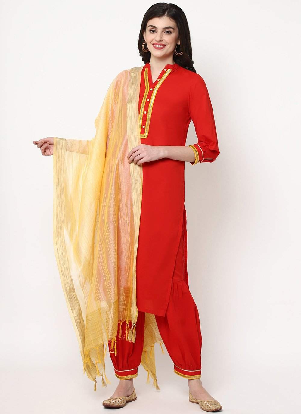 Red Cotton Bollywood Salwar Kameez