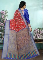 Red Cotton Digital Print Printed Saree