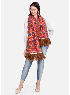 Red Cotton Embroidered Designer Dupatta
