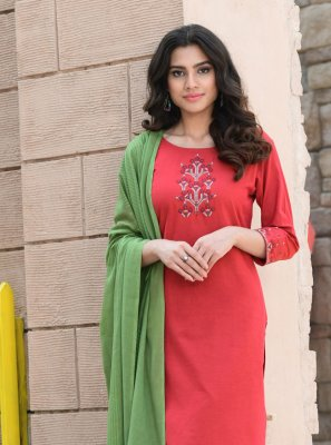 Red Cotton Embroidered Readymade Suit