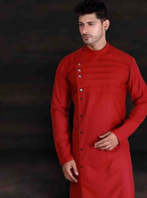 Red Cotton Kurta Pyjama