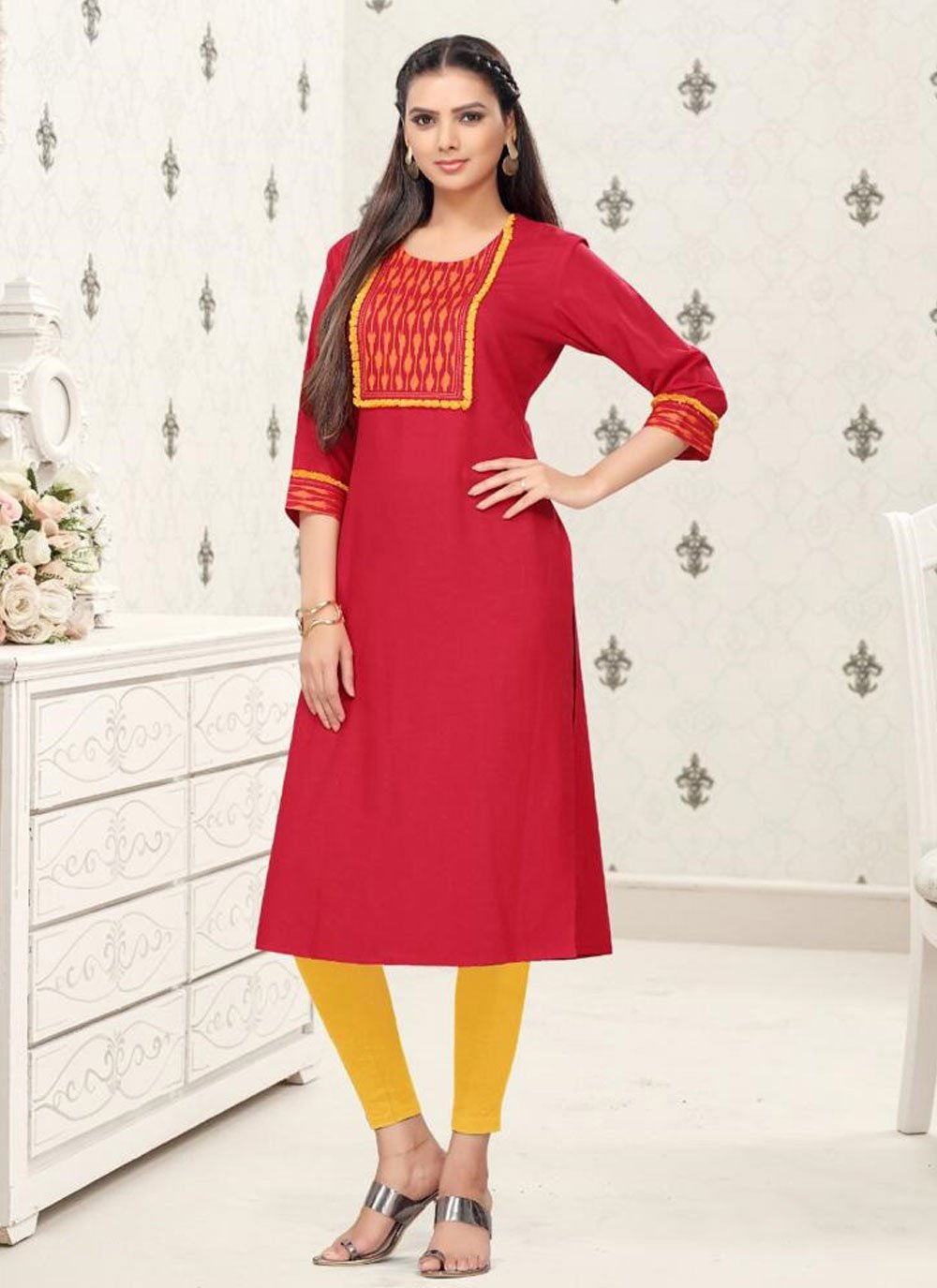 Red Cotton Party Wear Kurti