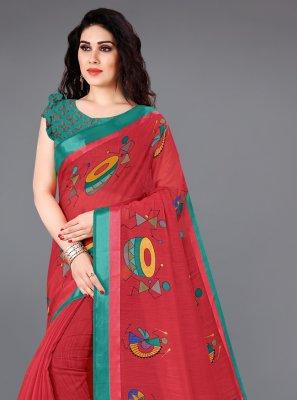 Red Cotton Printed Saree