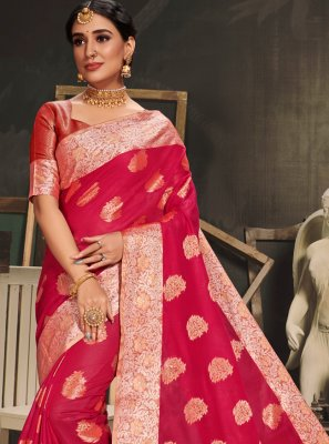 Red Cotton Silk Traditional Saree