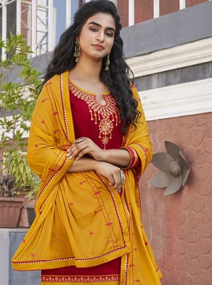 Red Designer Patiala Suit