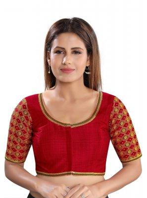 Red Dupion Silk Embroidered Designer Blouse