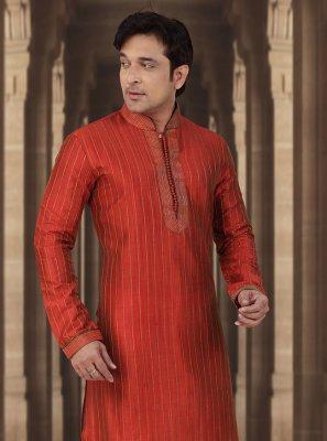 Red Dupion Silk Kurta Pyjama
