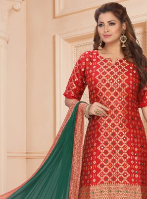 Red Embroidered Art Silk Readymade Suit