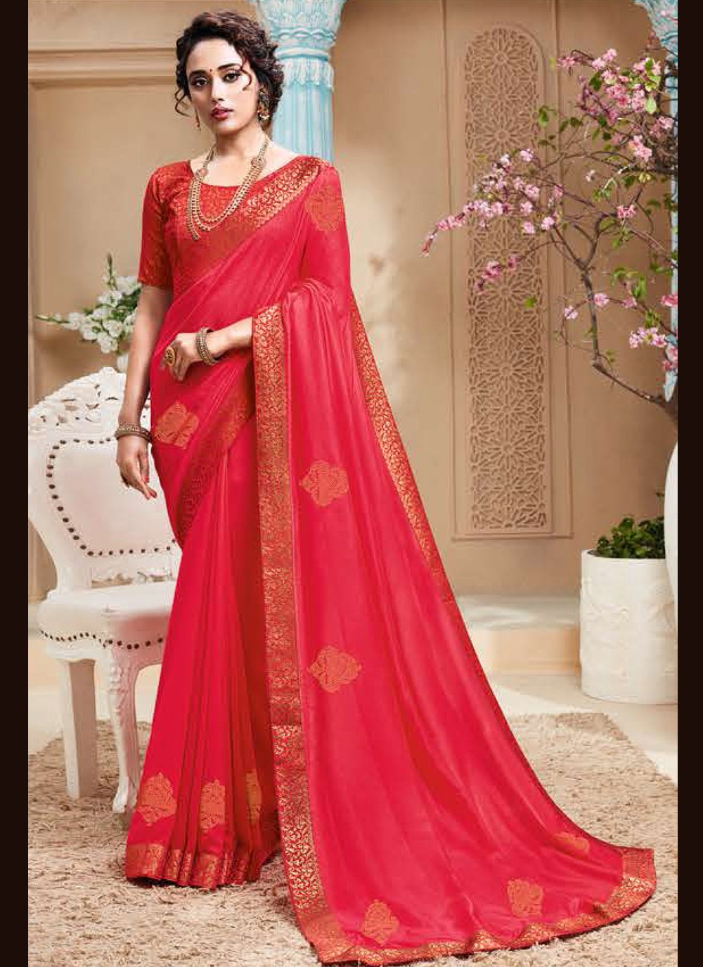 Red Embroidered Art Silk Traditional Designer Saree