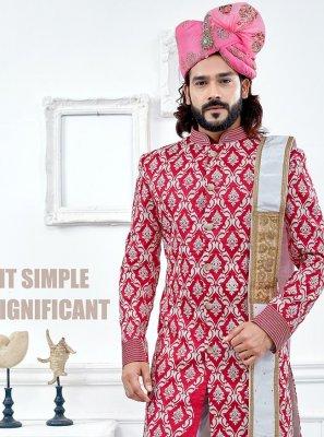 Red Embroidered Banglori Silk Indo Western Sherwani