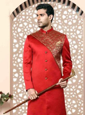 Red Embroidered Brocade Indo Western