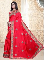 Red Embroidered Ceremonial Bollywood Saree