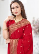 Red Embroidered Ceremonial Designer Saree