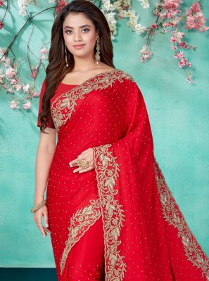 Red Embroidered Ceremonial Designer Traditional Saree