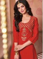 Red Embroidered Cotton A Line Lehenga Choli
