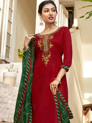 Red Embroidered Cotton Satin Pant Style Suit