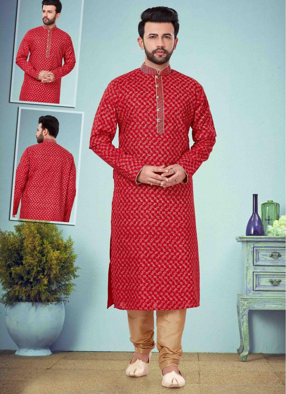 Red Embroidered Cotton Silk Kurta Pyjama