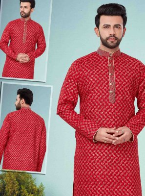 Red Embroidered Cotton Silk Kurta Pyjama