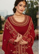 Red Embroidered Designer Pakistani Suit