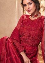 Red Embroidered Designer Salwar Suit