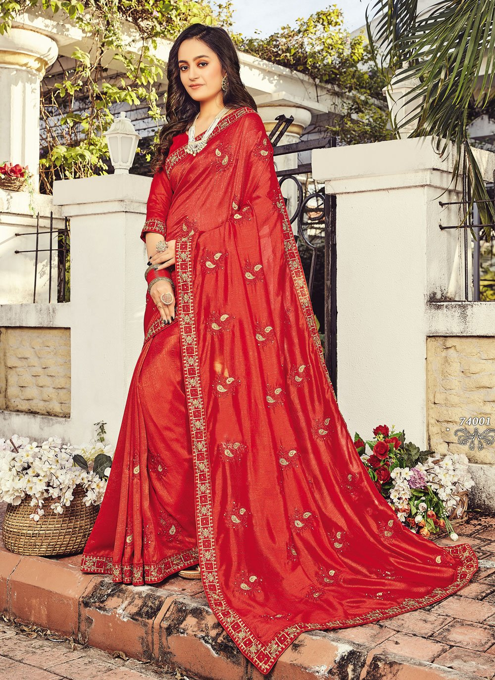 Red Embroidered Designer Traditional Saree